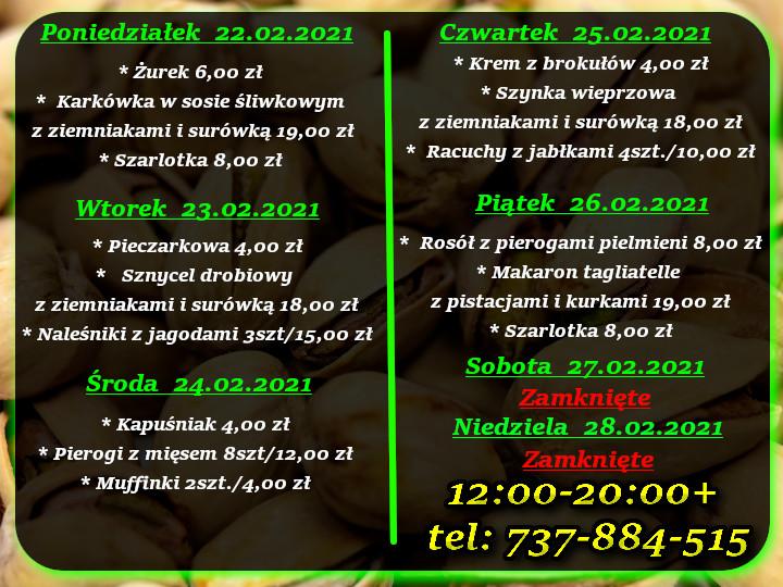 Menu Dnia restauracja Korona Augustów 22-28.02.2021 r.