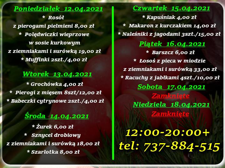 Menu Dnia restauracja Korona Augustów 12-18.04.2021 r.
