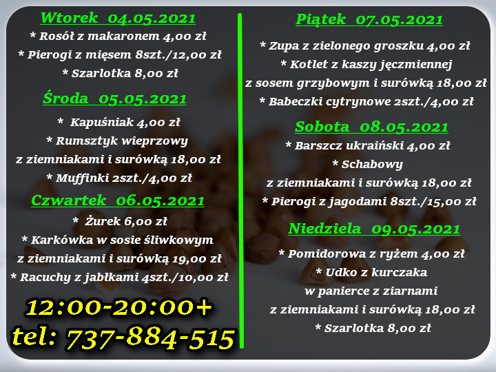 Menu Dnia restauracja Korona Augustów 04-09.05.2021 r.